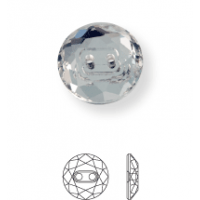Crystal Button round flat 2 hole 12mm Jet