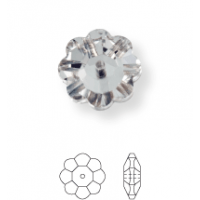 Flower sew-on stone 1 hole 8mm Jet