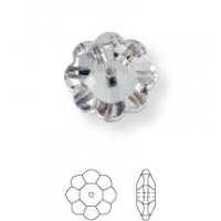 Flower sew-on stone 1 hole 8mm Jet
