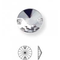 Rivoli sew-on stone flat 2 hole 8mm Black Diamond F