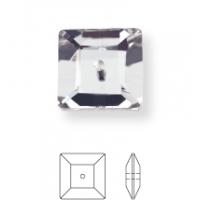 Square sew-on stone 1 hole 10mm Black Diamond F