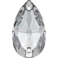 Drop sew-on stone 2 hole 12x7mm Crystal F