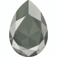 Large Pear 30x20mm Crystal Dark Grey