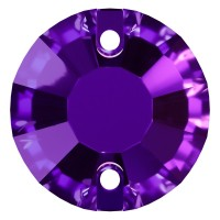 Rose sew-on stone flat 2 hole 12mm Purple Velvet F