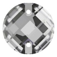 Chessboard sew-on stone flat 2 hole 18mm Crystal F