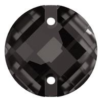Chessboard sew-on stone flat 2 hole 14mm Black Diamond F