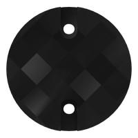 Chessboard sew-on stone flat 2 hole 16mm Jet