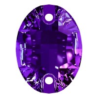 Oval sew-on stone flat 2 hole 24x17mm Purple Velvet F