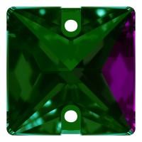 Square sew-on stone flat 2 hole 16mm Emerald F