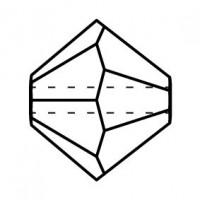 Bicone Crystal Bead 5mm Jet Hematite 2x