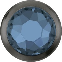 Xirius Rose Framed Hotfix Rhinestone ss34 Denim Blue HF Gun Metal Ring (GM)