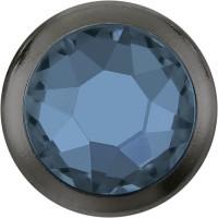 Xirius Rose Framed Hotfix Rhinestone ss34 Denim Blue HF Gold Ring (GR)