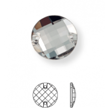 Chessboard sew-on stone flat 2 hole 12mm Crystal UF Transparent
