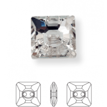 Square Crystal Button 2 hole 16mm Crystal UF Transparent