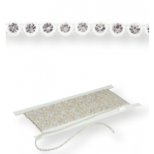 Plastic Rhinestone Banding ss13 (4.1mm) 1 row, Crystal F (C00030), Transparent plastic base, White threads