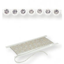 Plastic Rhinestone Banding ss15 (4.5mm) 1 row, Crystal F (C00030), Transparent plastic base, White threads