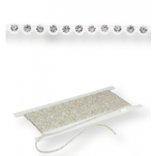 Plastic Rhinestone Banding ss8 (3mm) 1 row, Crystal F (C00030), Transparent plastic base, White threads