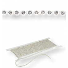 Plastic Rhinestone Banding ss10 (3.5mm) 1 row, Crystal F (C00030), Transparent plastic base, White threads