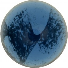 Glass Cabochon Round 14mm blue white marbled
