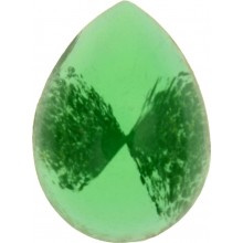 Glass Cabochon Pearshape 10x8mm green white marbled