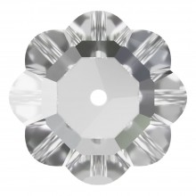 Flower sew-on stone 1 hole 10mm Crystal F