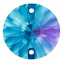 Rivoli sew-on stone flat 2 hole 10mm Blue Zircon F