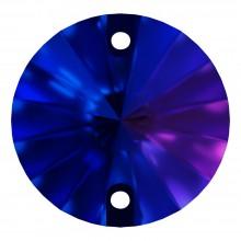 Rivoli sew-on stone flat 2 hole 10mm Capri Blue F