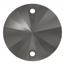Rivoli sew-on stone flat 2 hole 10mm Jet Hematite
