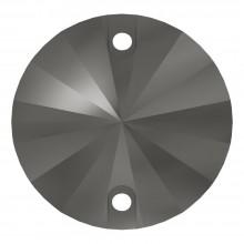 Rivoli sew-on stone flat 2 hole 18mm Jet Hematite