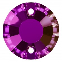 Rose sew-on stone flat 2 hole 12mm Amethyst F