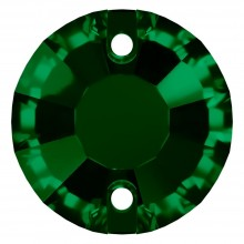 Rose sew-on stone flat 2 hole 10mm Emerald F