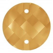 Chessboard sew-on stone flat 2 hole 18mm Crystal Aurum F