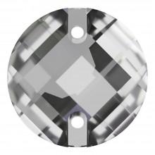 Chessboard sew-on stone flat 2 hole 12mm Crystal F