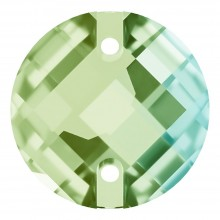 Chessboard sew-on stone flat 2 hole 16mm Peridot F