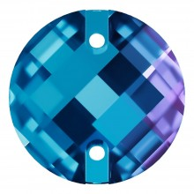 Chessboard sew-on stone flat 2 hole 16mm Blue Zircon F