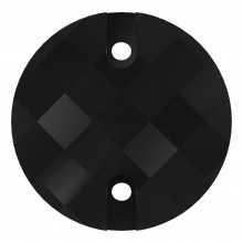 Chessboard sew-on stone flat 2 hole 14mm Jet