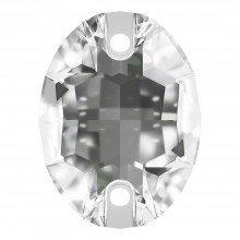 Oval sew-on stone flat 2 hole 16x11mm Crystal F