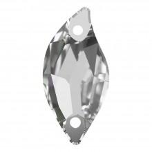 Leaf sew-on stone flat 2 hole 20x9mm Crystal F