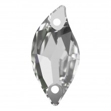 Leaf sew-on stone flat 2 hole 30x14mm Crystal F