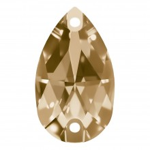 Pearshape sew-on stone flat 2 hole 14x10mm Crystal Golden Shadow F