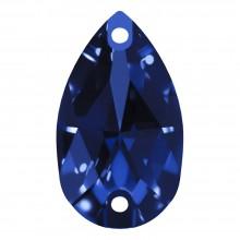 Pearshape sew-on stone flat 2 hole 12x7mm Sapphire F