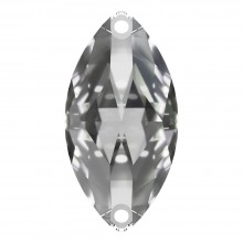 Navette sew-on stone flat 2 hole 18x9mm Crystal F