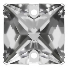 Square sew-on stone flat 2 hole 10mm Crystal F