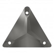 Triangle sew-on stone flat 3 hole 22mm Jet Hematite