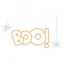 "Halloween Hotfix Rhinestone Transfer ""Boo"" 226x124mm"