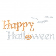 "Halloween Hotfix Rhinestone Transfer ""Happy Halloween"" 160x71mm"