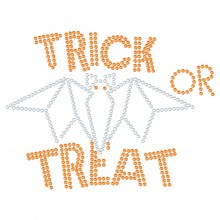 "Halloween Hotfix Rhinestone Transfer ""Trick or Treat"" 168x127mm"