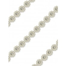 Plastic-Rhinestone-Trimming Flower pearl-white