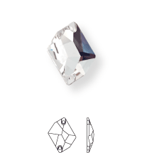 Irregular sew-on stone flat 2 hole 26x21mm Crystal F