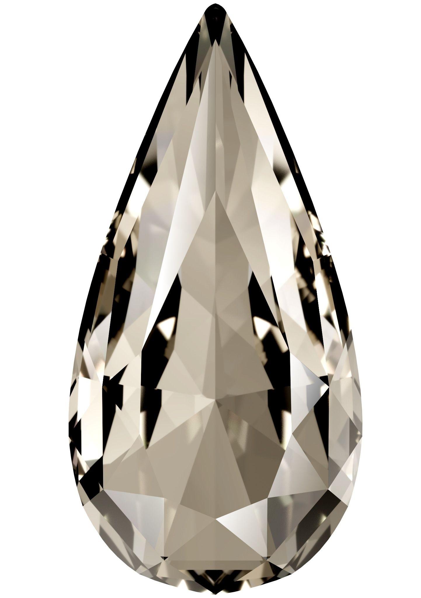 Teardrop Fancy Stone 18x9mm Crystal Silver Shade F